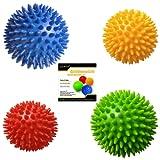 Pack of 4 Spiky Massage Balls, Hard & Soft Combo, 2 of 7.5cm & 2 of 9cm, Stress Reflexology, Porcupine Sensory Ball Set