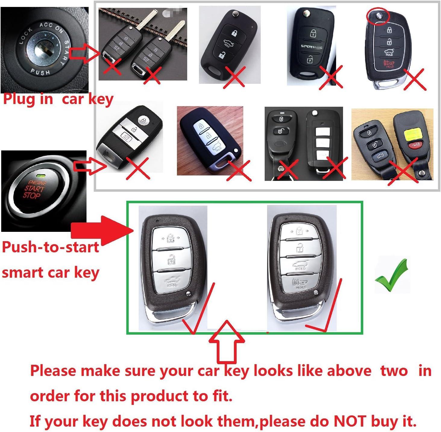 Key Fob Cover Fits for Hyundai Verna Style Elantra Mistra Sonata 9 Tucson ix25 ix35 M.JVisun Key Covers for Car Keys Hyundai Smart Key Silver Aluminum Key Fob Case Key Protector for Men /& Women