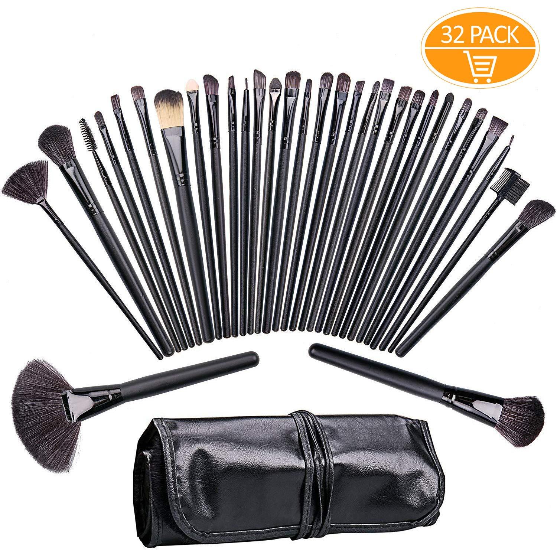 Make Up Brush set, Tintec 32pezzi di pennelli da trucco professionale kit pennello sintetico effetto pelle con custodia per il trasporto