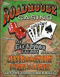 "Desperate Enterprises Roadhouse Bar & Casino Tin Sign, 12.5"" W x 16"" H"