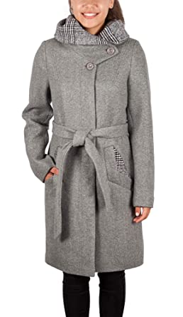 Grimada 1740 Damen Wollmantel Kurzmantel Cootic Mit Kapuze Grau