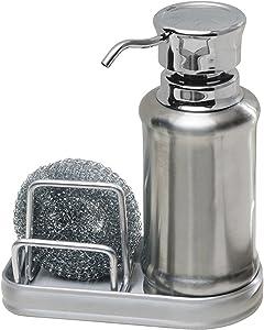 "iDesign York Ergo Stainless Steel Soap and Sponge Sink Organizer Caddy - 6.5"" x 3"" x 8.25"", Brushed/Polished"