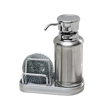 InterDesign York Ergo Kitchen Soap Dispenser Pump And Sponge Caddy  Organizer For Countertops   Brushed/