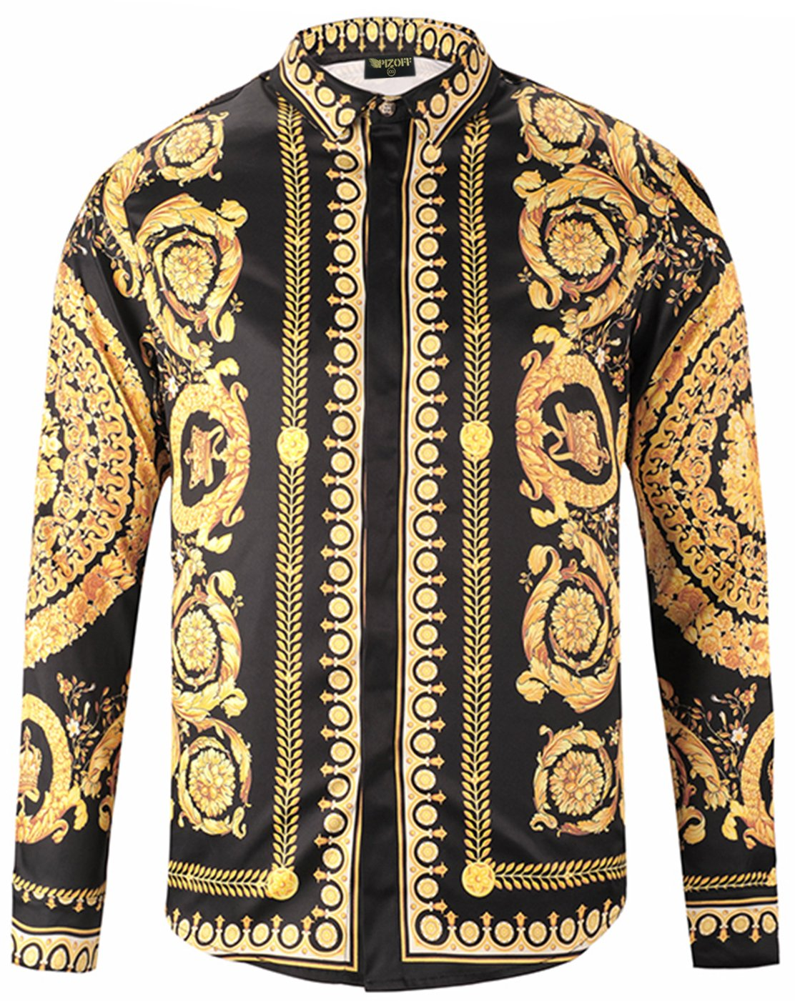 Pizoff Mens Long Sleeve Luxury Gold Round Floral Print Dress Shirt Y1792-18-L