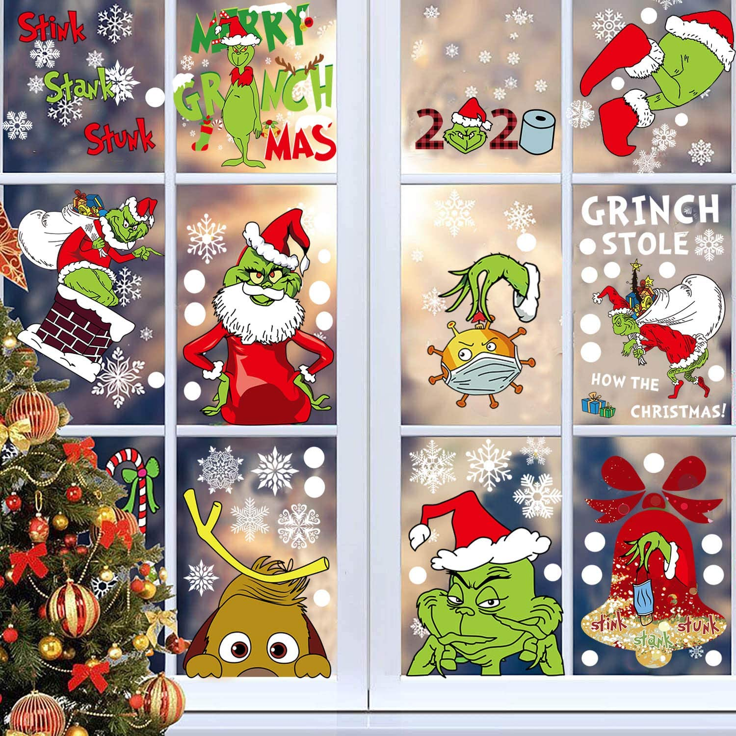 ZOISNT 9 Sheets Christmas Grinch Window Clings Grinch Christmas Decorations Window Sticker, Holiday Window Decals for Home School Office Grinch Party Supplies