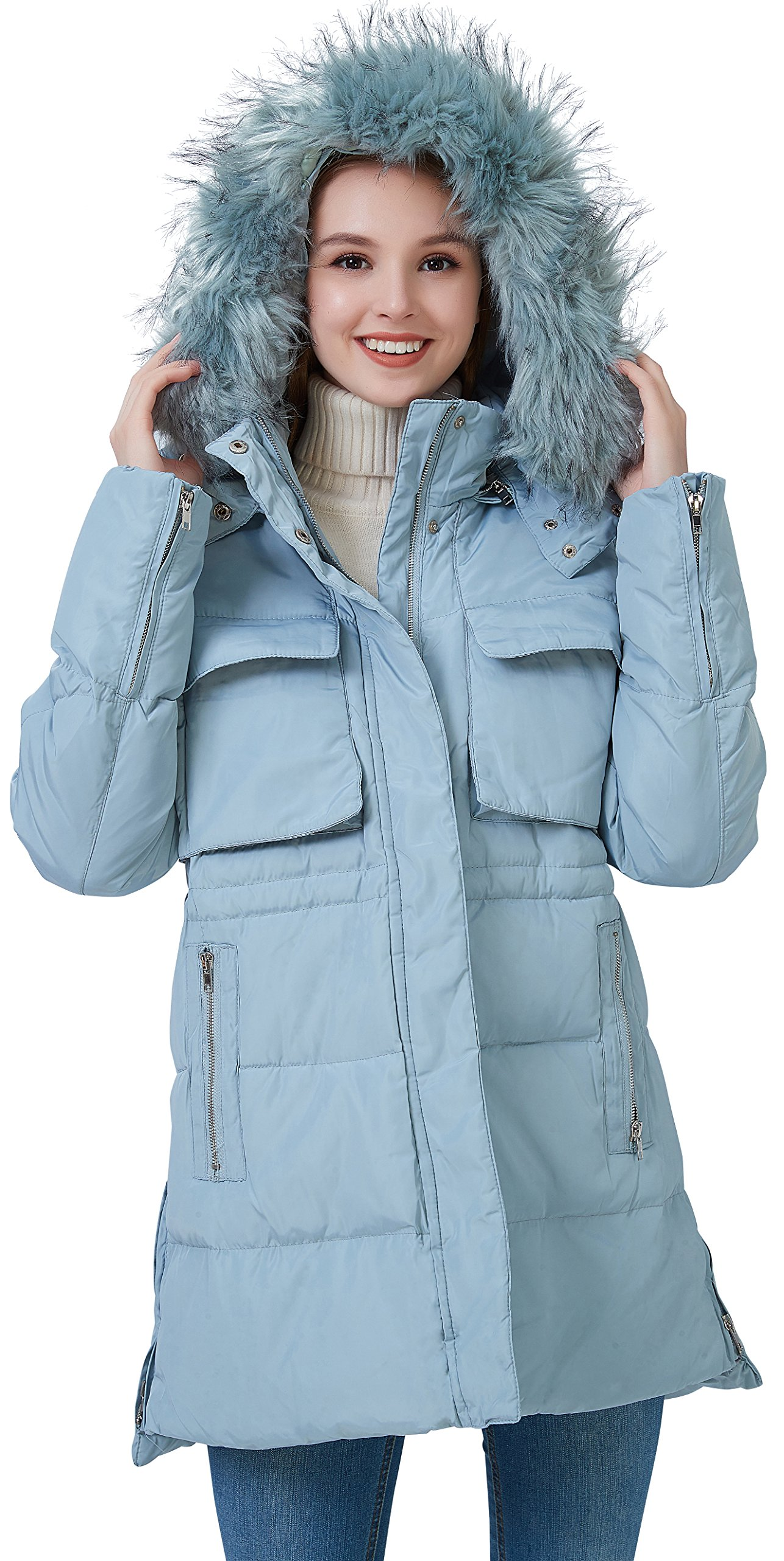 fashciaga Women's Faux Fur Hood Winter Quilted Coat Puffer Lightweight Down Parka Jacket Medium