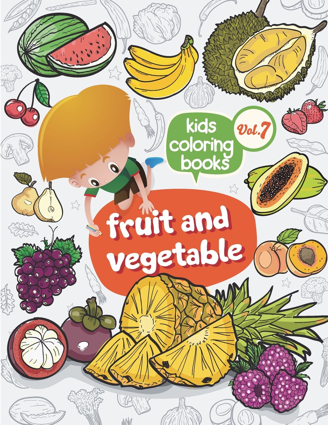 Kids coloring books Fruit and vegetable: Kids coloring books ...