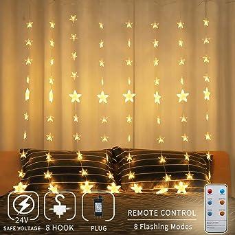 Led Weihnachtsbeleuchtung Für Fenster.Areskey Led Lichterketten 80 Sterne 144 Leds Anschließbar Sternenvorhang Mit 8 Modi Fernbedienung Weihnachtsbeleuchtung Für Fenster Dekoration
