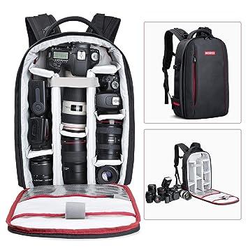 Beschoi Mochila Fotográfica Multifunción y Impermeable para Cámaras Réflex Digital SLR Lente Trípode Flash Laptop Portátil Canon Nikon Drone y ...