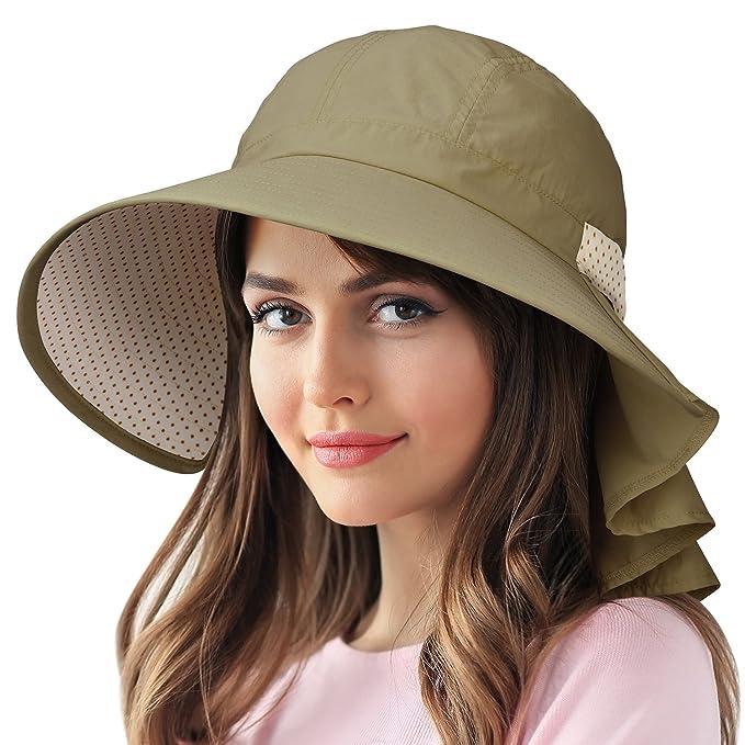 Sun Protection Hats for Women Hiking Garden Safari w Flap Neck Cover Wide  Brim Kahki e443ab69315