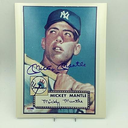 da3fc8b05 Autographed Mantle Picture - 1952 Topps Rookie Card 8x10 COA - PSA ...