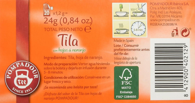 Pompadour Infusión Tila con Hojas de Naranja - 20 Bolsitas: Amazon.es: Alimentación y bebidas
