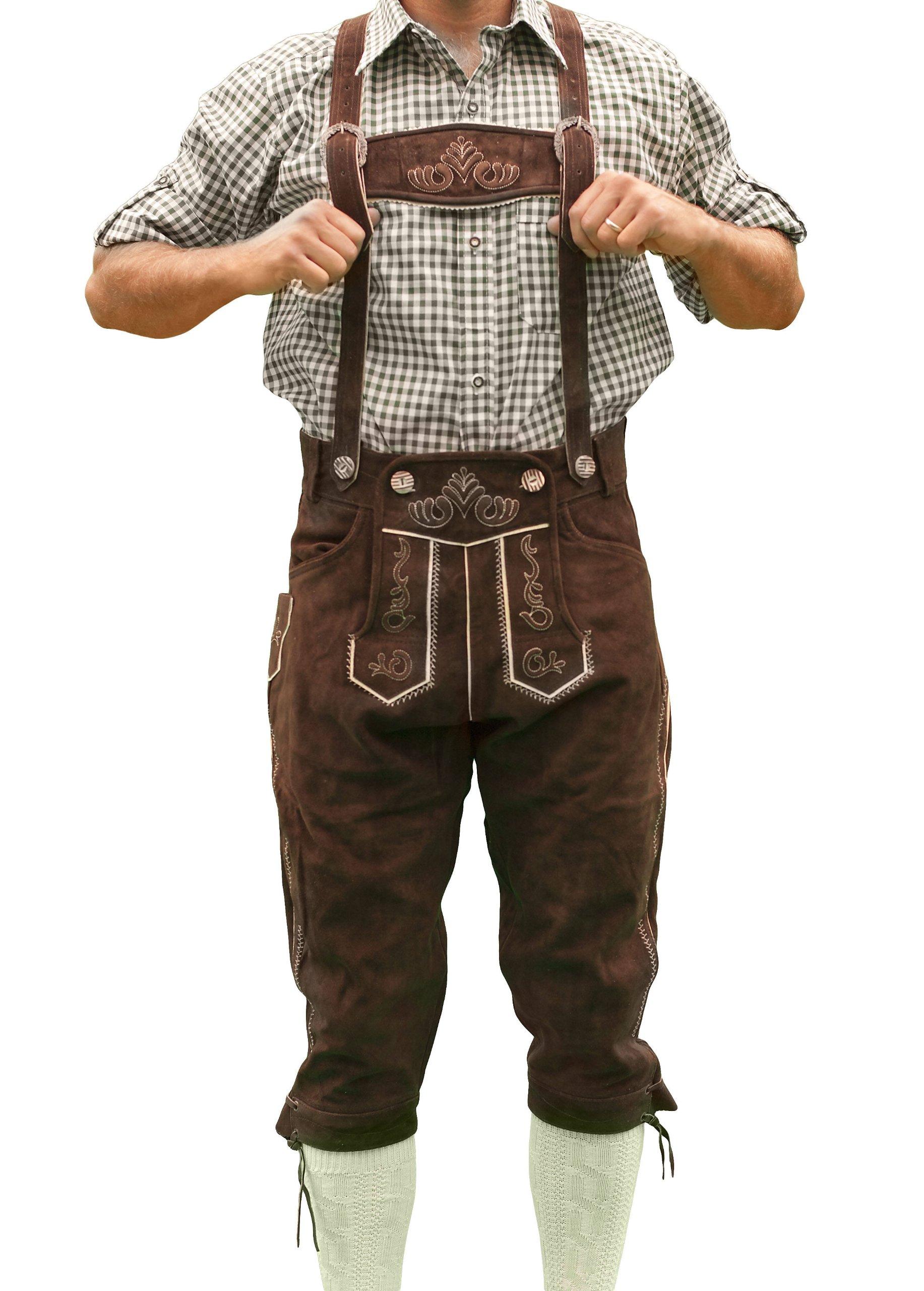 Bavarian Tracht Lederhosen HANS, Bavarian Clothing - 42 - Dark brown
