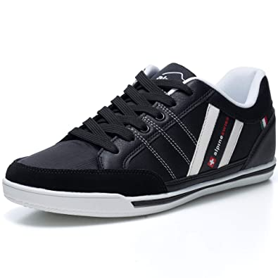 21fffb1da9e4 alpine swiss Mens Stefan Black Suede Trim Retro Fashion Sneakers 8 M US