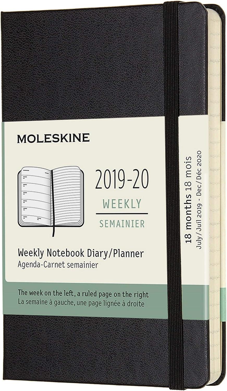 Moleskine 2019-20 Weekly - Agenda Cuaderno Semanal de 18 Meses 2019/2020, Negro, Tamaño Pequeño 9 x 14 cm, 208 Páginas (AGENDAS 18 MOIS)