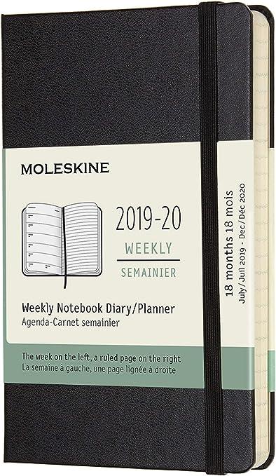 MOLESKINE Agenda Settimanale NERA 18 mesi 2019//2020 Formato A5 Copertina Rigida