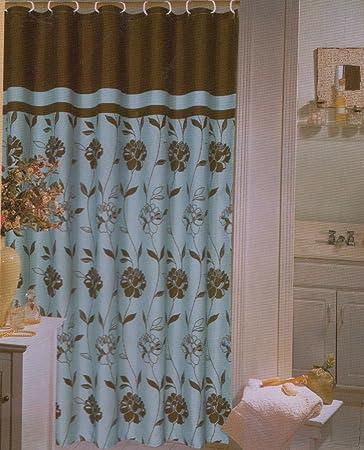 Amazon.com: Blue Brown Flowers Fabric Shower Curtain - Cabella ...