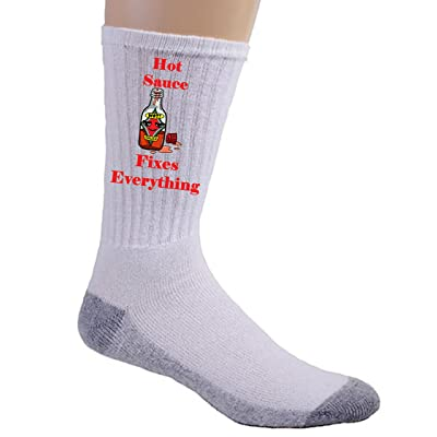 """Hot Sauce Fixes Everything"" Food Humor Cartoon - Crew Socks at Amazon Men's Clothing store"