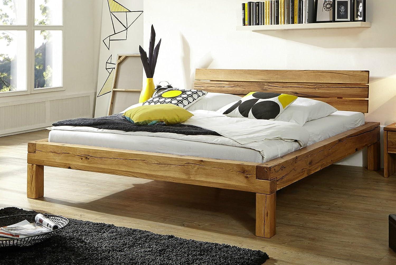 Bett Balkenbett Doppelbett 'Jonas' 200x200cm Kernbuche geölt massiv Holz