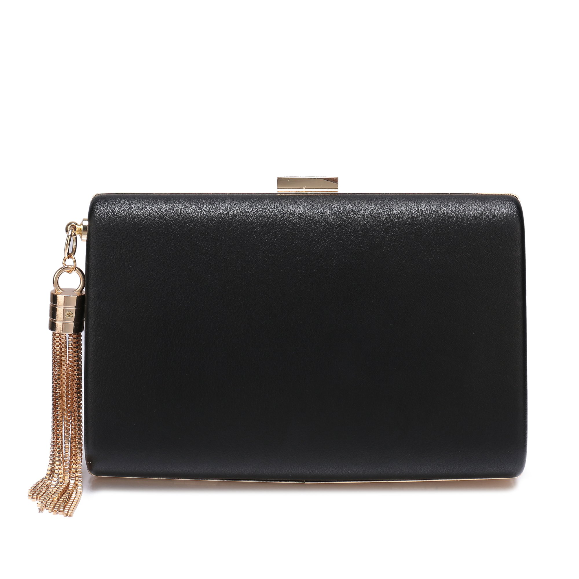 Leather Evening Clutch Handbag Clutch Purse Prom For Cocktail Wedding Women Black by Minicastle