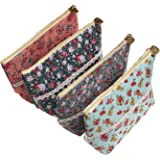 LJY 4 Pieces Assorted Large Capacity Flower Floral Pen Holder Stationery Pencil Pouch Travelling Multi-functional Cosmetic Bags