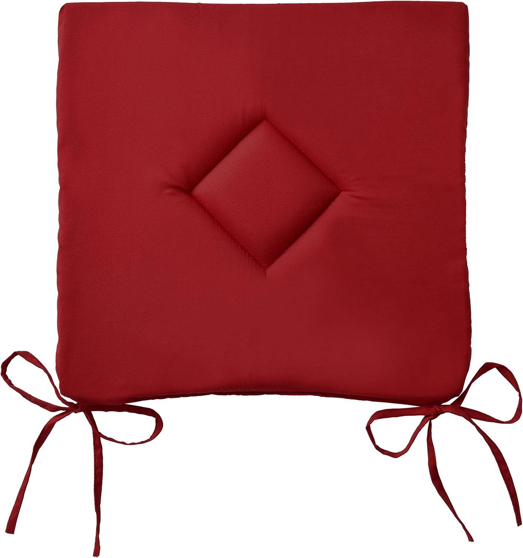 con Lacci Bordeaux Beautissu Set da 2 Cuscini per Sedia Lara 38x38x1,5 cm per casa Cucina e Giardino