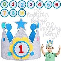 JOYUE Verjaardagskroon voor kinderen, van stof met verwisselbare cijfers van 0-9, uniseks kroon voor kinderverjaardag…