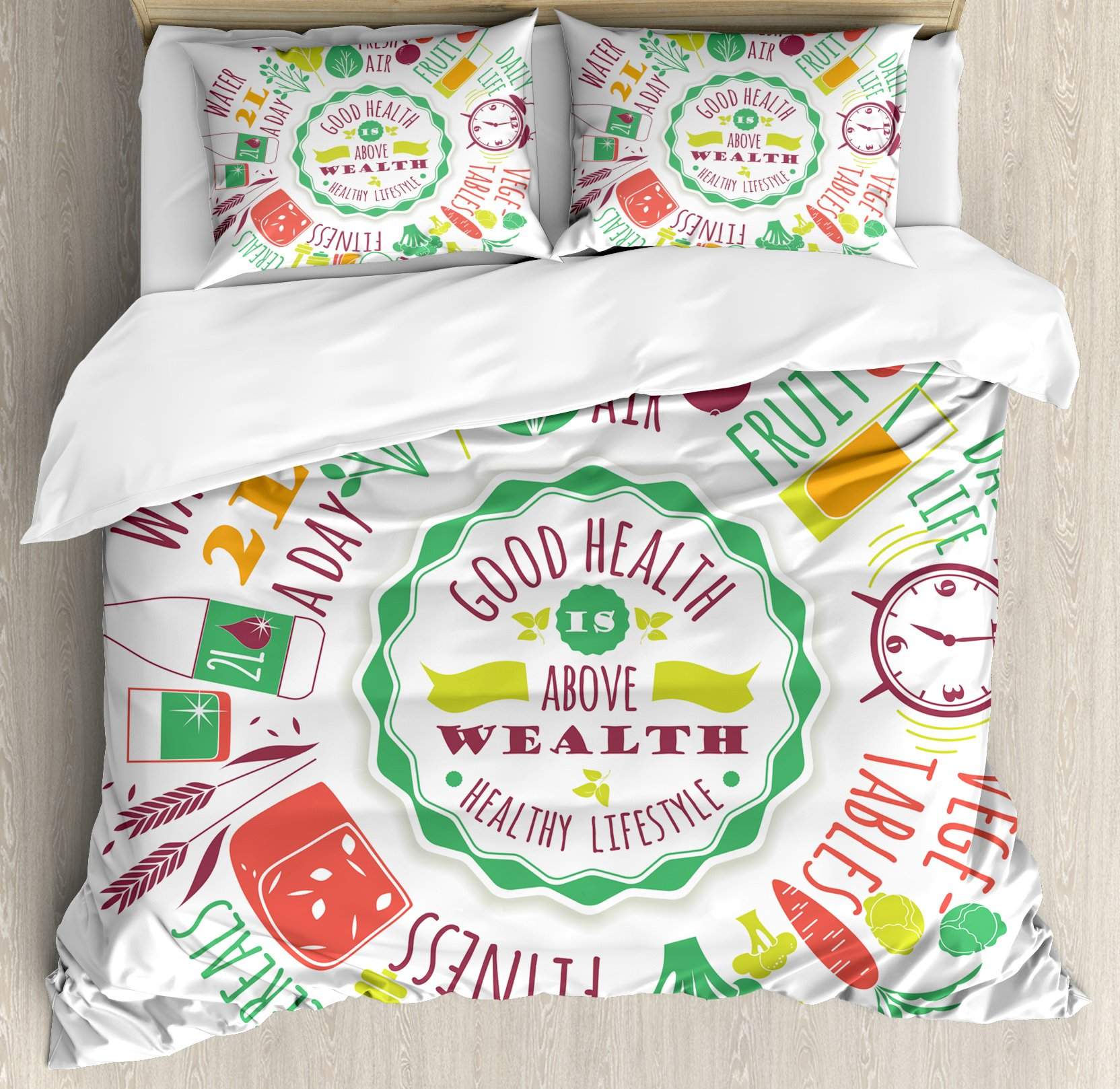 Fitness King Size Duvet Cover Set by Ambesonne, Good Health is Above Wealth Wellness Motivation Water Fruits Fitness Walk Cereals, Decorative 3 Piece Bedding Set with 2 Pillow Shams, Multicolor