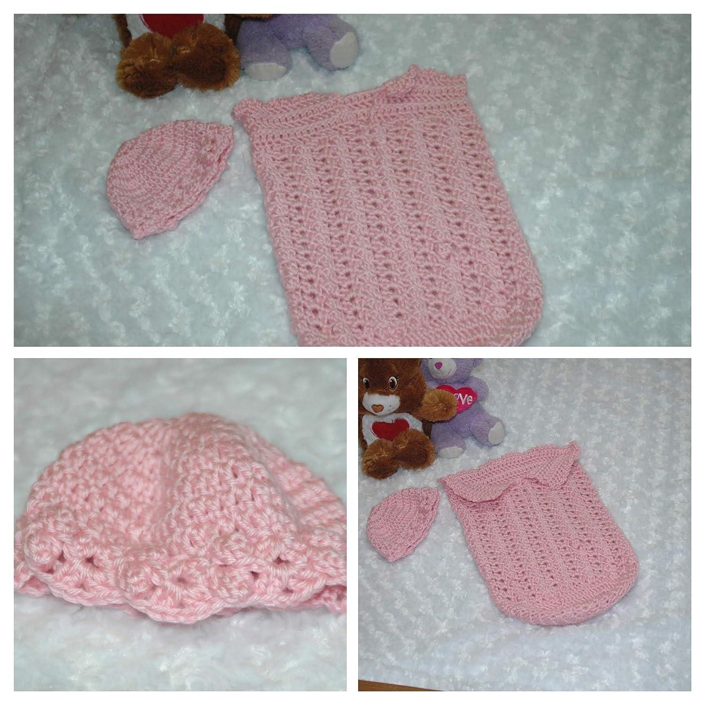 Amazoncom Crocheted Newborn Pink Baby Bunting And Hat Handmade