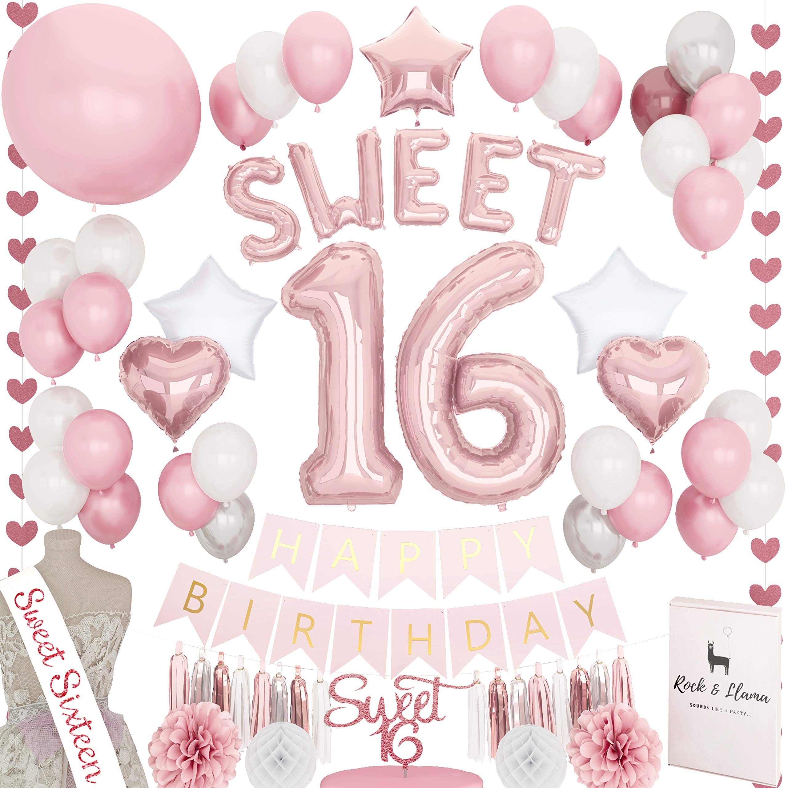 Stunning Sweet 16th Birthday Decorations Party Supplies + (SASH) + (SWEET Letter Balloons) + (Sixteen Cake Topper) | Rose Gold Pink Fuchsia 16 BDay | (71+ Items) by Rock and Llama