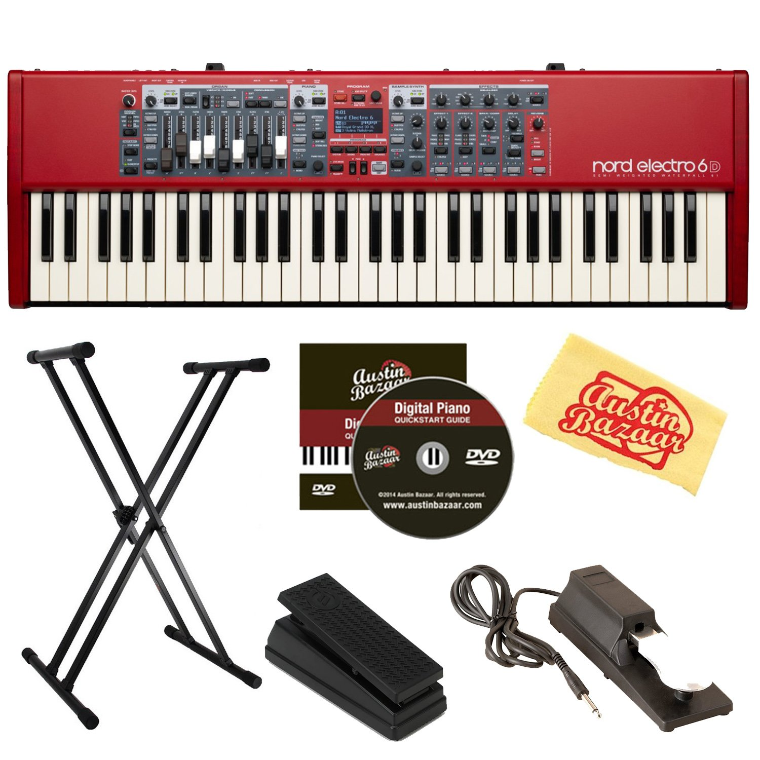 Nord Electro 6D 61-Key Stage Piano Bundle with Adjustable Stand, Expression Pedal, Sustain Pedal, Austin Bazaar Instructional DVD, and Polishing Cloth by Nord