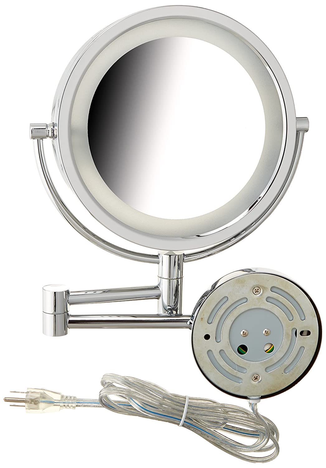 Amazon.com : Jerdon HL75N 8.5-Inch Lighted Wall Mount Makeup Mirror with 8x Magnification, Nickel Finish : Personal Makeup Mirrors : Beauty