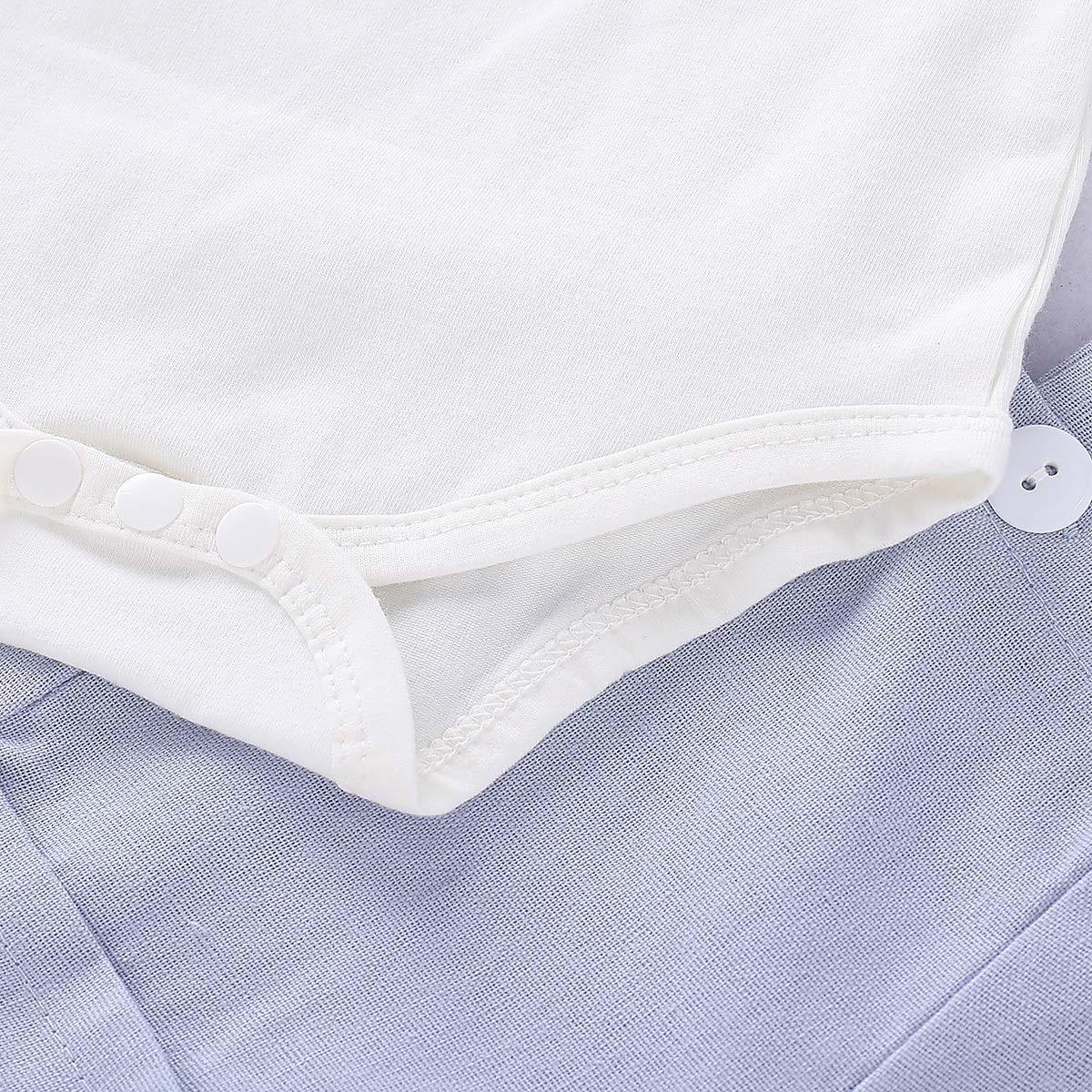 Puseky 2 Pezzi//Set Baby Boys Gentlemen Suit Bow Tie Pagliaccetto e Pantaloni a Sospensione Outfit
