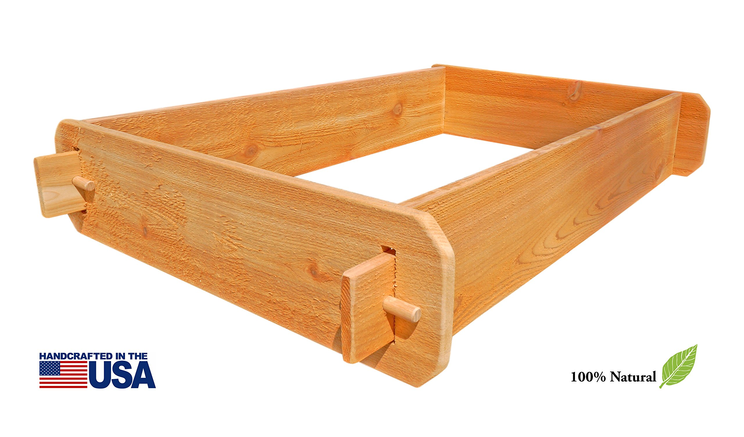 Timberlane Gardens Raised Bed Kit 2x3 All Natural Western Red Cedar Handcrafted with Mortise and Tenon Joinery 2Feet x 3 Feet
