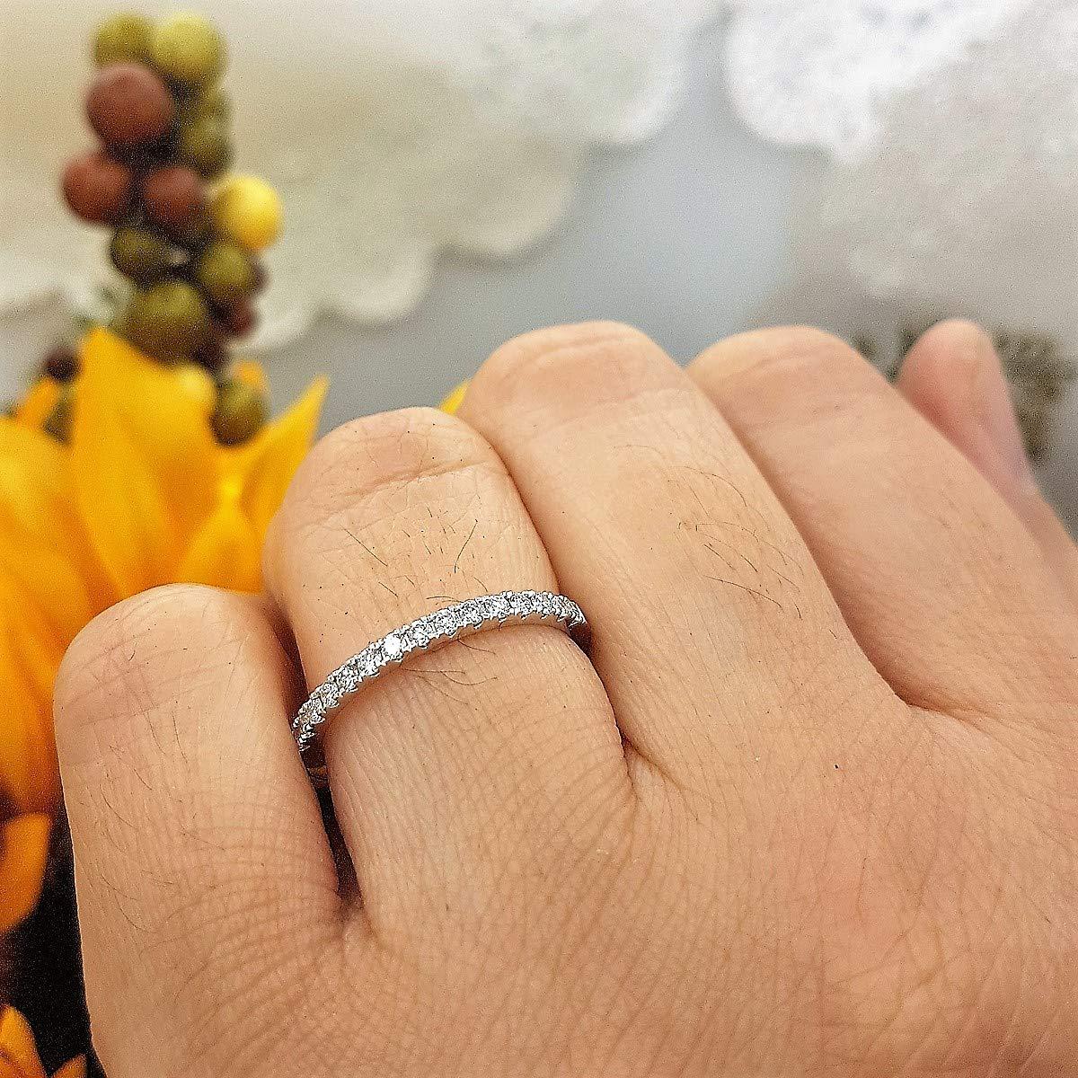 Dazzlingrock Collection 14K Round Gemstone Ladies Bridal Stackable Wedding Band 1//4 CT White Gold K5007-P