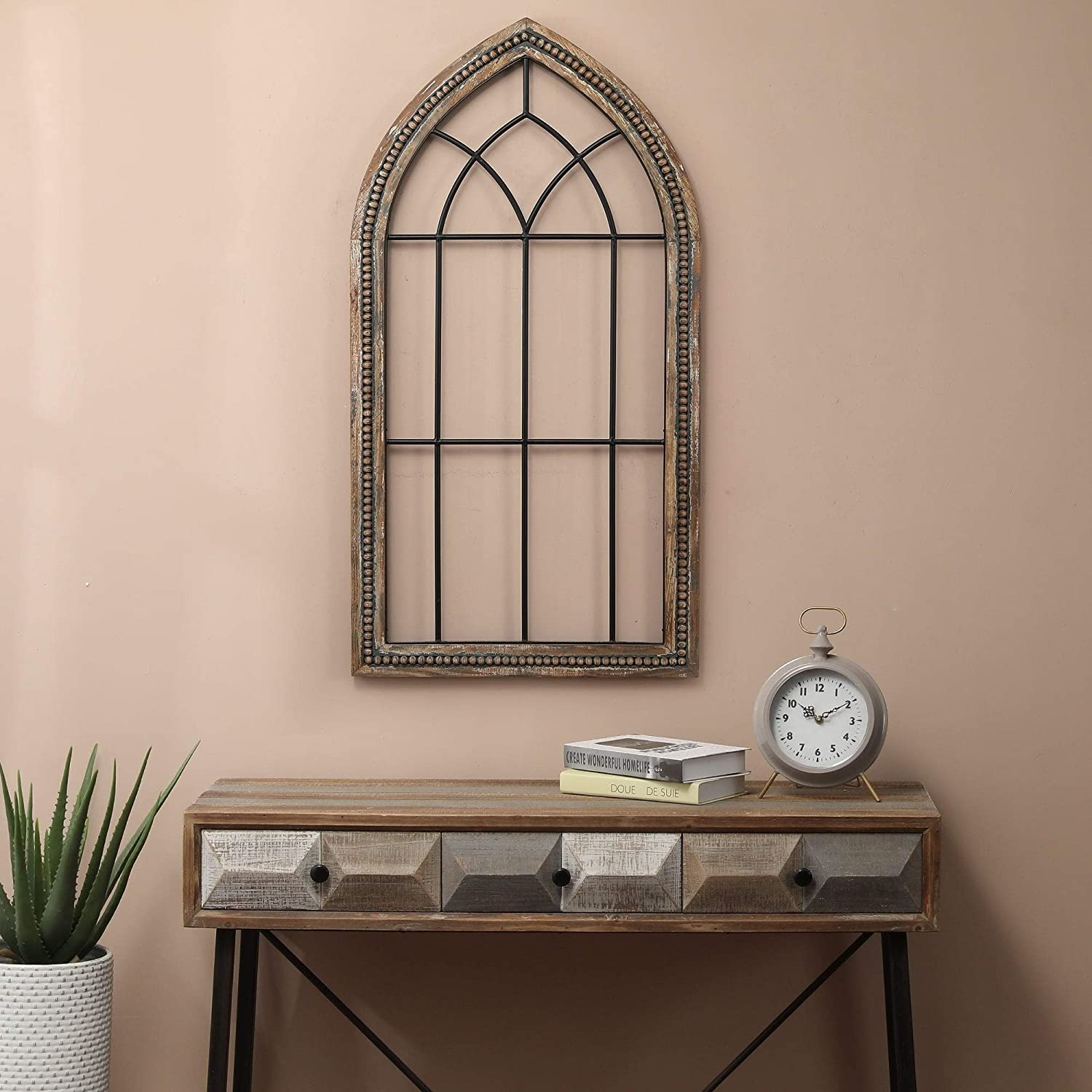 Wood and Metal Cathedral Wall Decor Black Brown Traditional Includes Hardware
