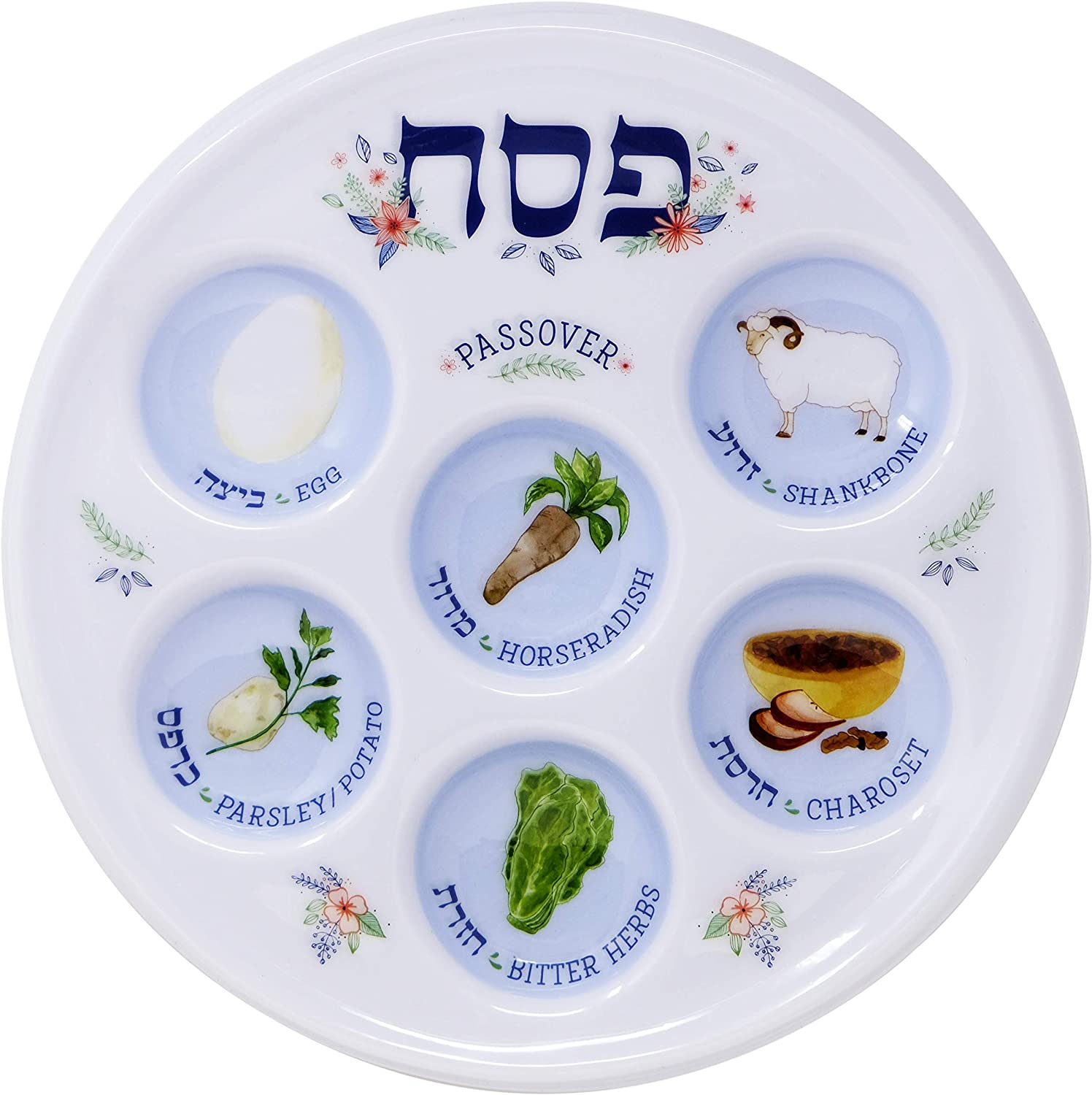 Passover Seder Plate Deluxe Quality Plastic 10' Disposable Plates (Pack of 10) The Dreidel Company