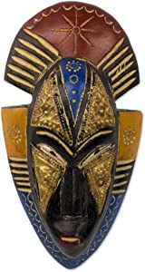 NOVICA Painted Red and Blue Hand Carved Ghanaian Wood Wall Mask, Opeyemi'