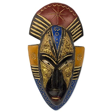NOVICA Painted Red and Blue Hand Carved Ghanaian Wood Wall Mask, Opeyemi