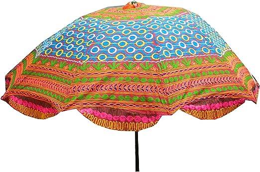 indischerbasar.de Sombrilla 180cm colores algodón bordados multicolor accesorio playa jardín: Amazon.es: Jardín