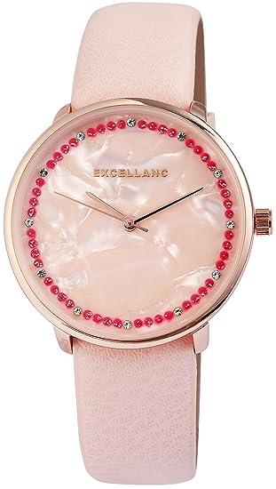 Reloj mujer Beige Rosa Oro Nácar brillantes Analog piel Reloj de pulsera