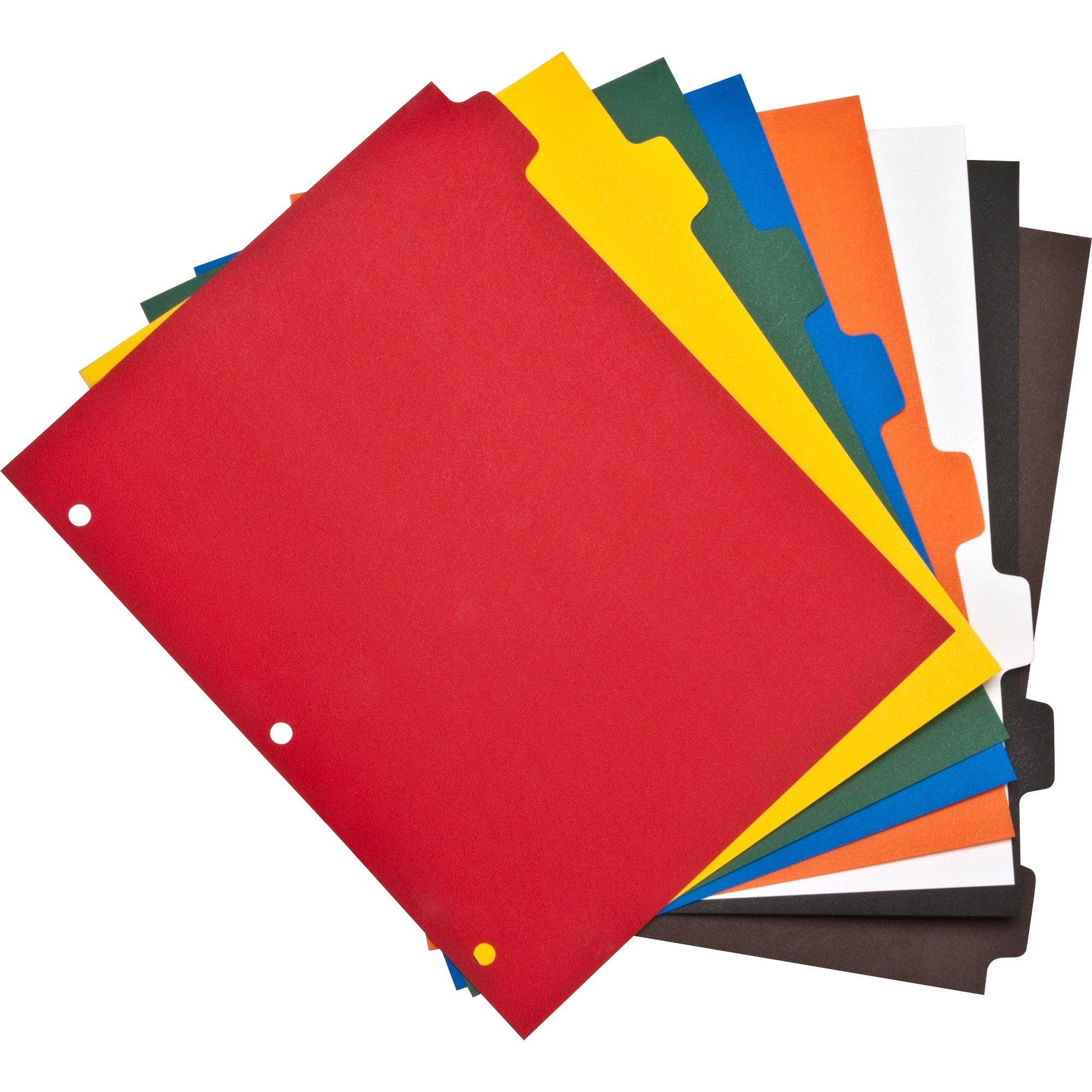 Advantage Plain Tab Color Polyethylene Index Dividers, 3 Hole Punched, 8-Tab Sets, 25 Total Sets in Red, Yellow, Green, Blue, Orange, White, Black, Brown