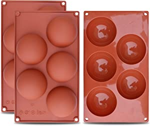 homEdge Extra Large 5-Cavity Semi Sphere Silicone Mold, 3 Packs Baking Mold for Making Chocolate, Cake, Jelly, Dome Mousse
