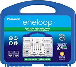 """Eneloop Panasonic K-KJ17MCC82A Power Pack, NEW 2100 Cycle, 8AA, 2AAA, 2""""C Spacers, 2""""D Spacers, Advanced Individual battery charger"""