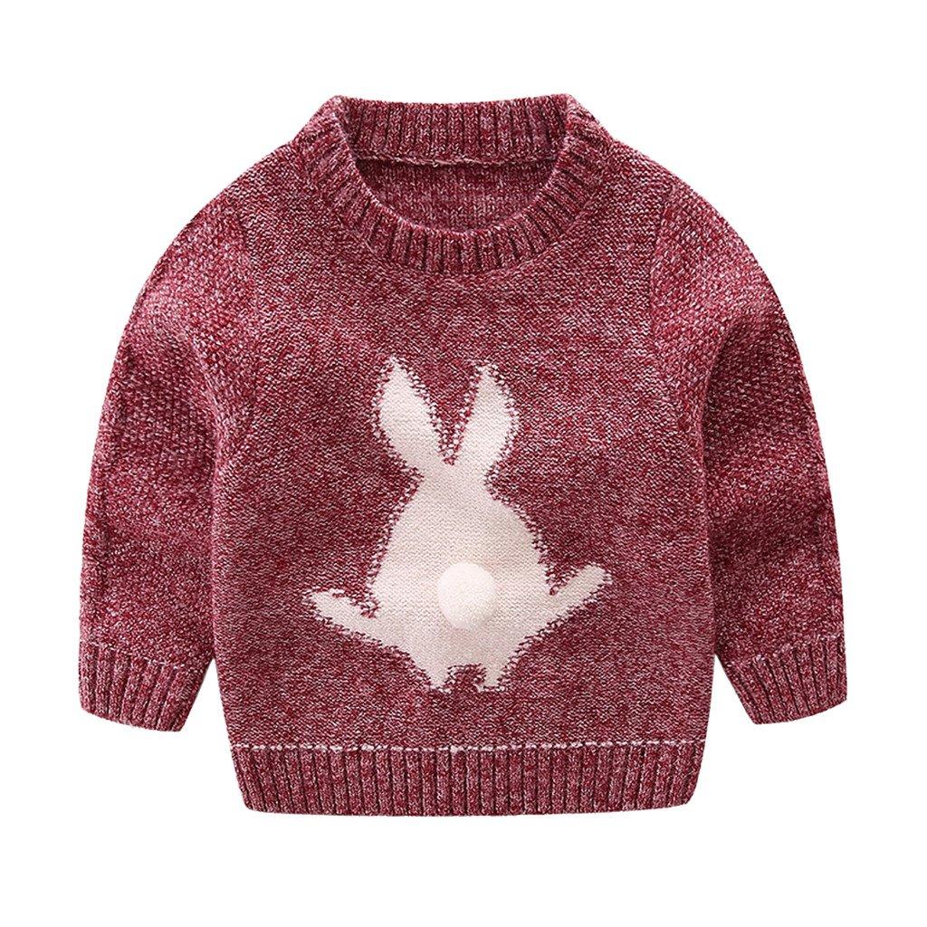 Mud Kingdom Little Boys Cute Rabbit Sweaters Pullover 3T Red