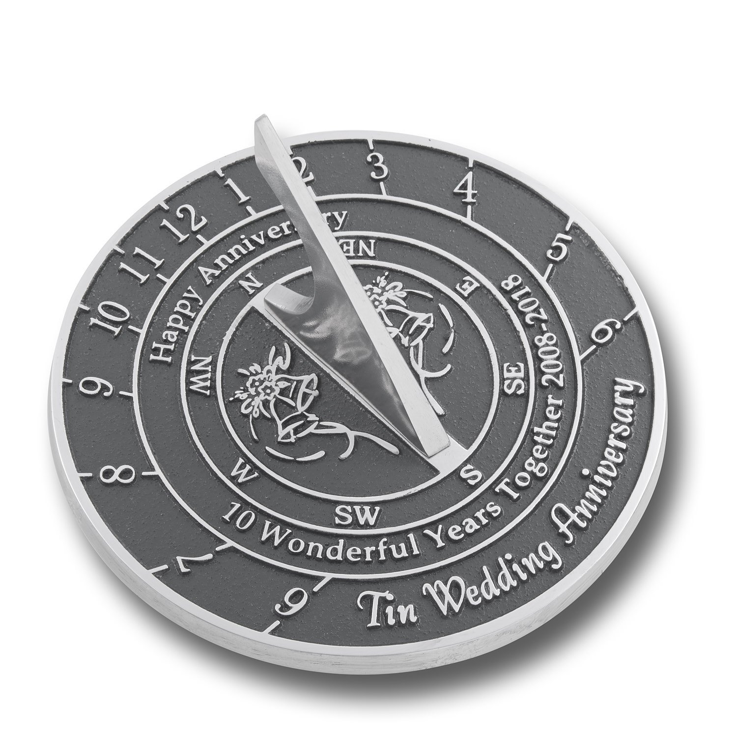 The Metal Foundry 10th Tin Wedding Anniversary Sundial Gift Idea Is A Great Present For Him, For Her Or For A Couple To Celebrate 10 Years Of Marriage by The Metal Foundry Ltd