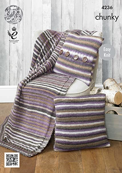 Amazon King Cole Riot Chunky Knitting Pattern Striped Cushion