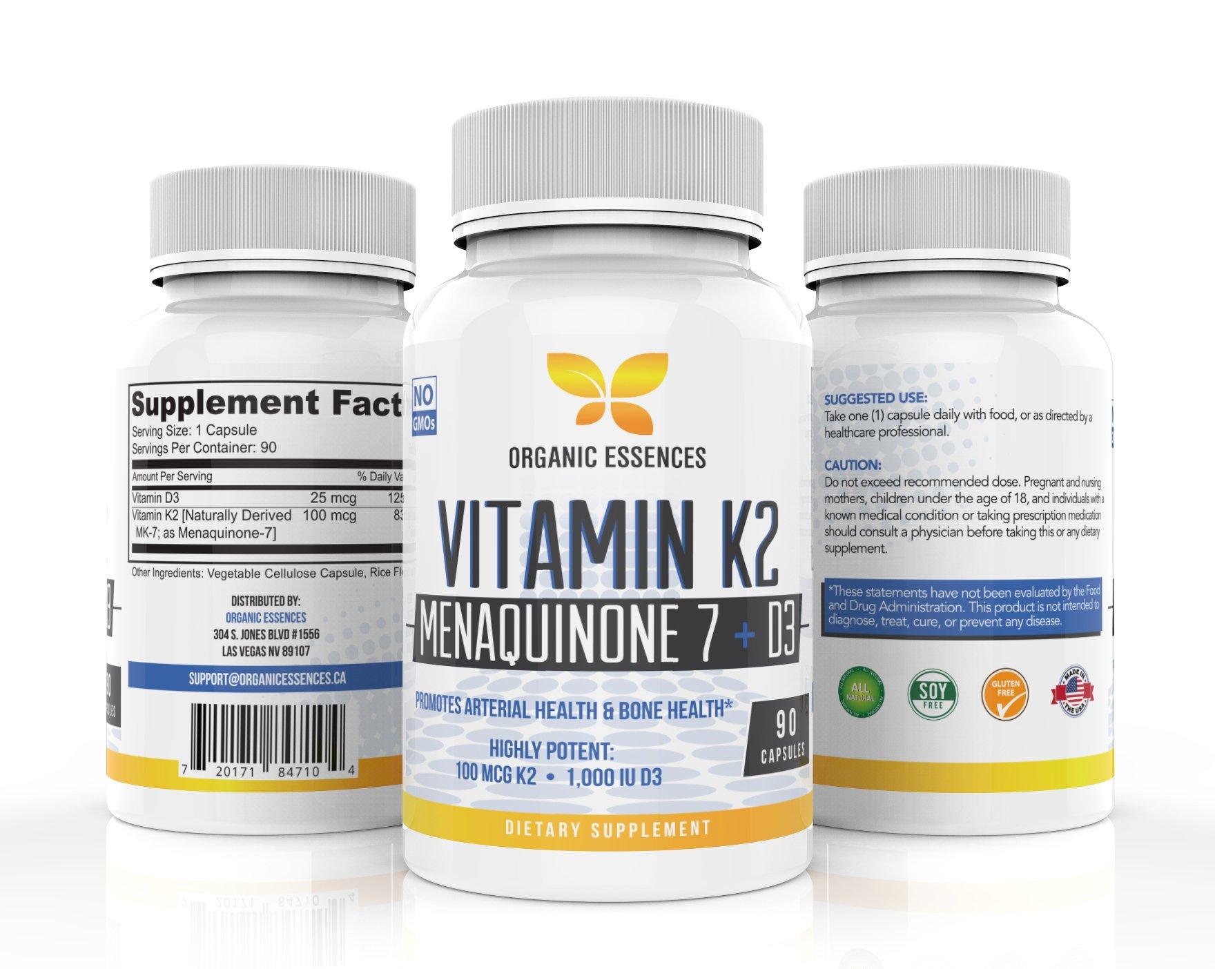 Organic Essences Vitamin K2 MK7 supplement with D3-90 V.Caps - Natural MenaQ7 - Supports Healthy Bones, Healthy Heart, Superior Calcium Absorption 100% Natural. 100mcg Vit K2 + 1000IU D3