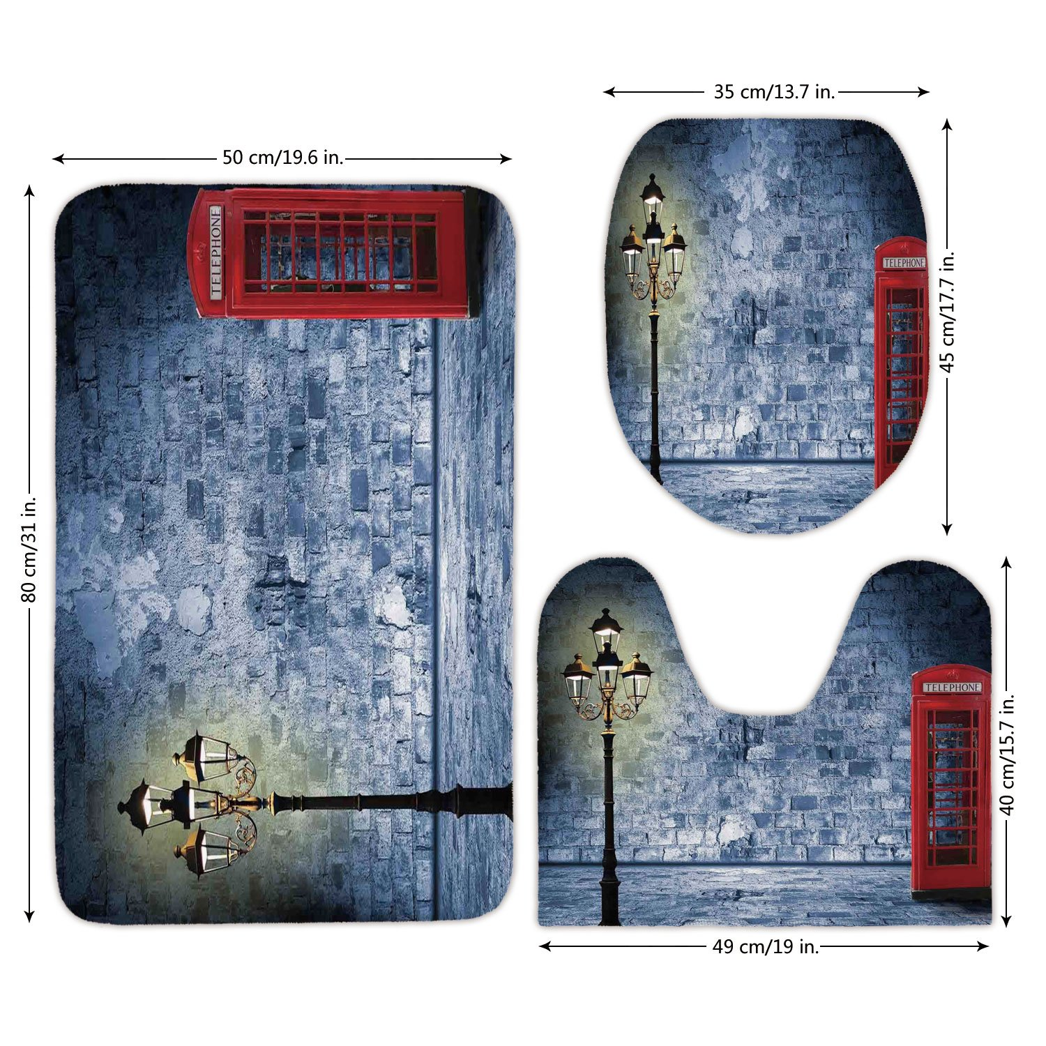 3 Piece Bathroom Mat Set,Lantern,Vintage Scene with Brick Wall and British Phone Box in Dark Scary Night Twilight Painting Decorative,Gey Red,Bath Mat,Bathroom Carpet Rug,Non-Slip