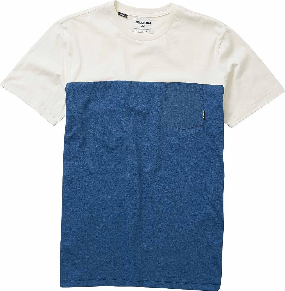 Billabong Mens Zenith Blocked Short Sleeve Shirt, deep Blue, 2XL ...